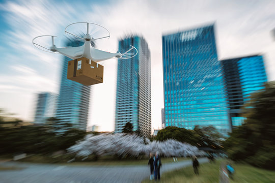 Flying shipment of a package by UAV drone with autonomous guide