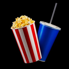 Paper striped bucket with popcorn and cup of soft drink isolated on black