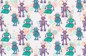 seamless pattern with retro robots