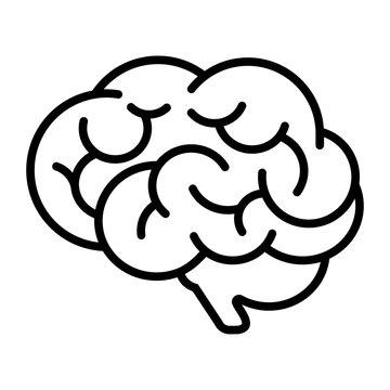 Brain, mind or intelligence line art vector icon.