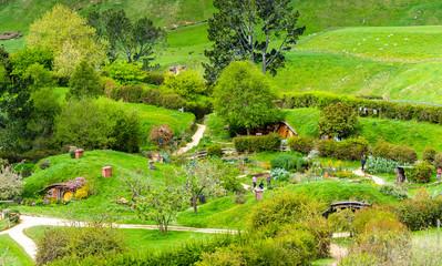 Foto op Plexiglas Pistache MATAMATA, NEW ZEALAND - OCTOBER 10, 2018: Landscape of the Hobbiton Movie Set.