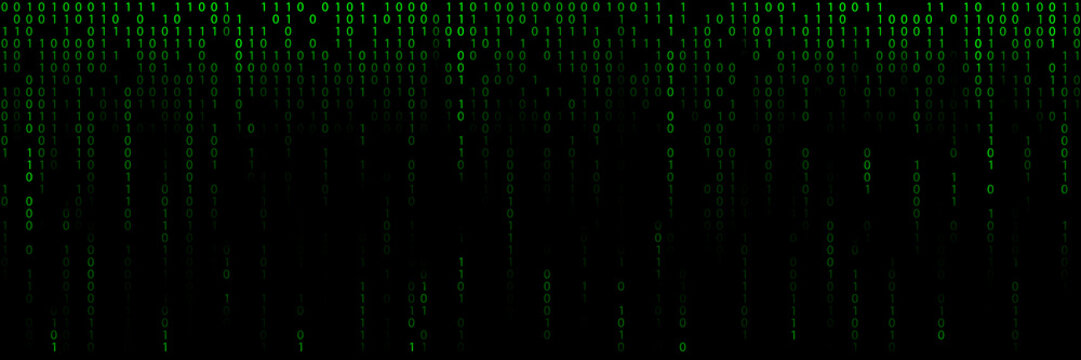 Green background with lines of a binary code.