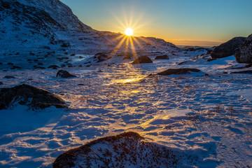 Polar arctic greenlandic sunset over the snow mountains, Nuuk, Greenland Fototapete