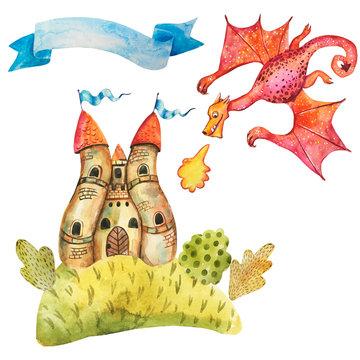 Watercolor Dragon attacks the castle.