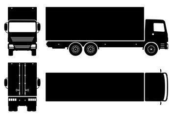 Box truck silhouette on white background. Vehicle icons set view from side, front, back, and top