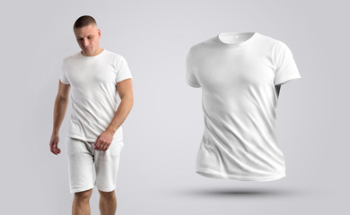 Two mockups of a white T-shirt on a man and 3d.