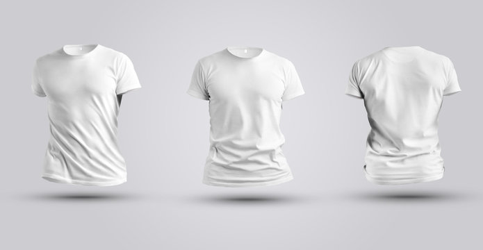 Three mockups of white realistic 3d t-shirt isolated on white background.
