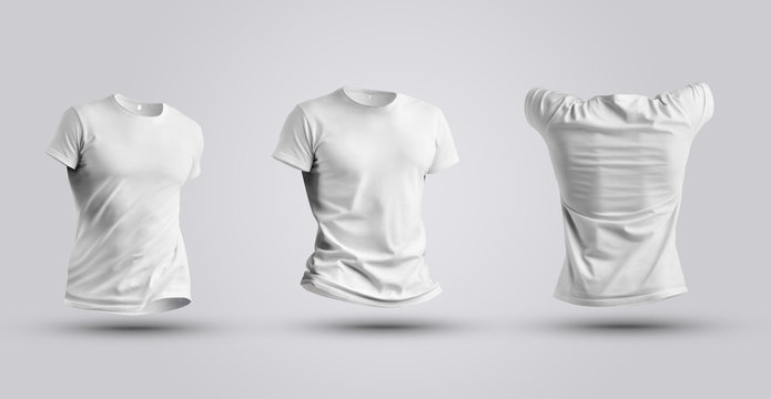 Three tempalte of white realistic 3d t-shirt isolated on white background.