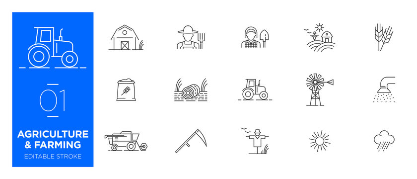Set of Agriculture and Farming line icons - Modern icons