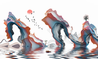 Abstract ink contracted adornment line landscape artistic conception