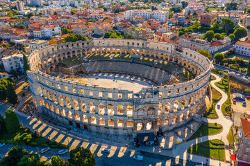Photo Stands Old building Aerial view of Pula amphitheater, Pula, Croatia