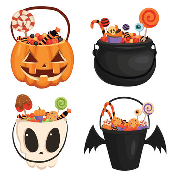 Set Halloween buckets of different shapes full of sweets. Collection of cartoon bags for collecting sweets for Halloween. Vector illustration for children.