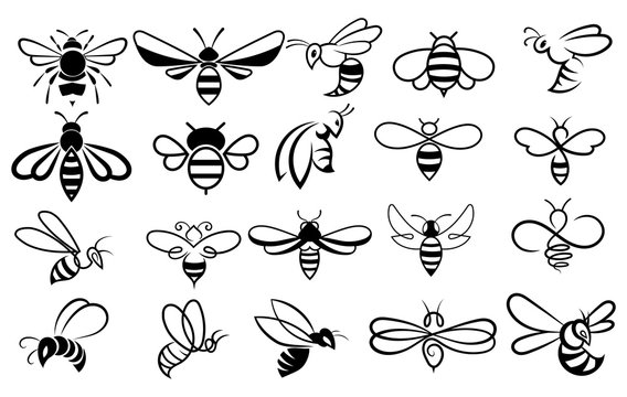 Set of bees. Collection of stylized honey bees for the logo. Black and white illustration of a farm insect.
