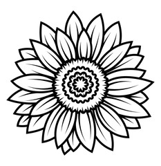 Sunflower flower. Black and white illustration of a sunflower. Linear art. Tattoo blooming sunflower.