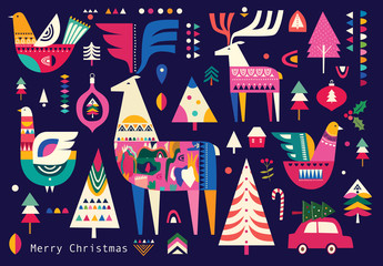 Fotomurales - Christmas pattern in Scandinavian folk style with deer, Christmas tree, bird and other