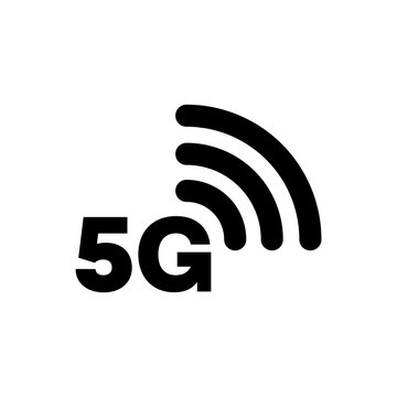 5G icon network coverage area simple flat style symbol