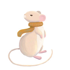 Cute mouse character in scarf