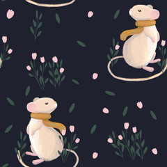 Seamless pattern with mouse and flowers on dark background