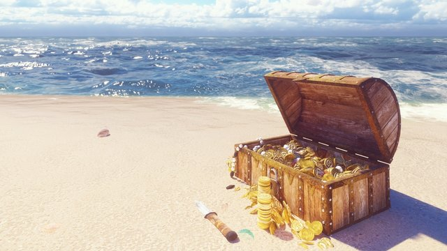 An open wooden pirate chest filled with gold coins and diamonds lies on the shore of a lost tropical island. 3D Rendering