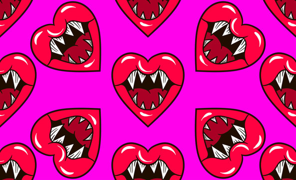 seamless pattern hearts with fangs and mouth