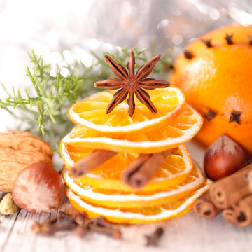 dried orange and spices, christmas food ingredient