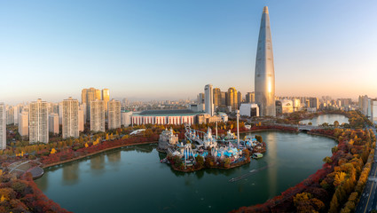 South Korea skyline of Seoul, The best view of South Korea with Lotte world mall at Jamsil in Seoul. Tourism, summer holiday, or sightseeing Seoul landmark concept