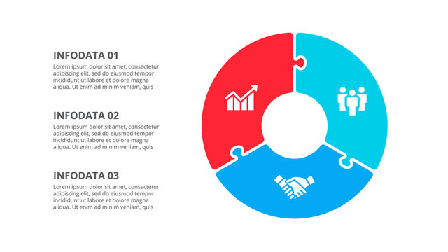 Circle puzzle infographic with 3 options. Vector business template for presentation.