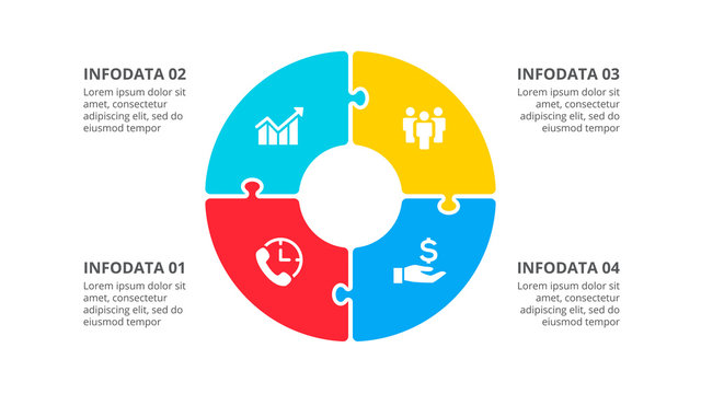 Circle puzzle infographic with 4 options. Vector business template for presentation.