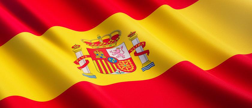 Waving flag of Spain - Flag of Spain - 3D illustration
