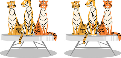 find 10 differences. vector image of tigers for development. picture for children
