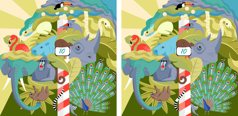 find 10 differences. vector image of wild zoo animals for development. picture for children