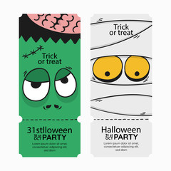 Happy halloween night party invitation card, banner or background. there are pumpkin, witch poision pot and ghost skull.