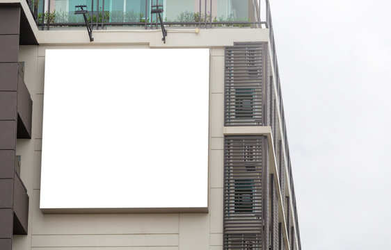 Mockup image of Blank billboard white screen posters and led outside building for advertising
