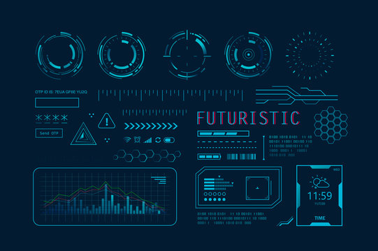 Futuristic HUD Ui for app. User interface HUD and Infographic elements, virtual graphic, simulation, graph, icon, Augment reality and screen monitor interface hud infographic set.