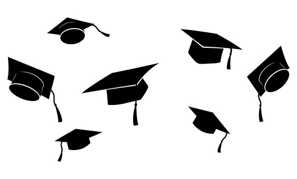 Set of flying graduation caps. Collection of students toss caps. Black white vector illustration.