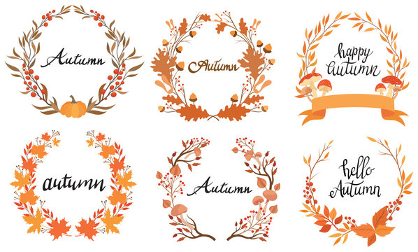 Set of autumn wreaths with the inscription. Collection of cartoon wreaths of autumn branches and leaves. Vector illustration of lettering with plants.