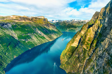 Foto op Plexiglas Noord Europa Beautiful aerial landscape view Geiranger fjord in More og Romsdal county in Norway.