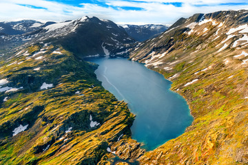 Foto op Plexiglas Noord Europa Beautiful aerial landscape view Geirangerfjord region in More og Romsdal county in Norway.