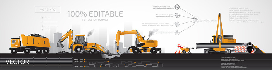 Heavy construction equipment, road repair, infographic.