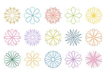 花 イラスト アイコン セット デザイン カラー ライン