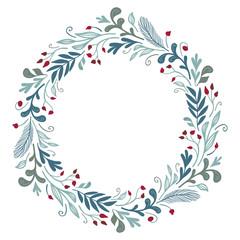 Winter flora round frame. Vector card template. Christmas design.