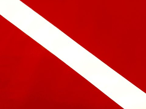 Red and white diver down scuba diving flag
