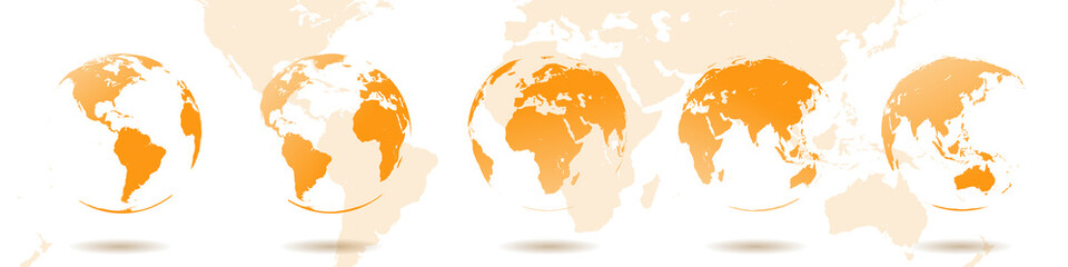 Set of Earth globes. Vector elements of the world. High detailed map for graphic backgrounds
