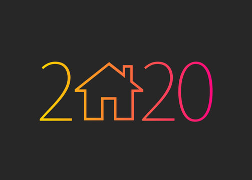 happy new year 2020. 2020 with house