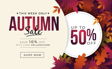 Big sale banner with colorful autumn leaves vector illustration. Landing page template with fall foliage and profitable discount flat style design. Up to fifty percent off with code helloautumn
