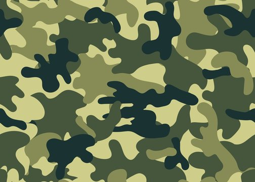 Camouflage military warfare seamless pattern vector illustration. Endless texture of modern style of light and dark spots on a green background. Clothing uniform design. Print paper fabric concept