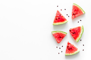 Slices of watermelon on white background top view mock up