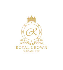 Royal crown logo template - golden badge with crown symbol and monogram letter