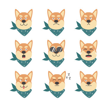 Shiba inu cute cool dog with various emotions flat vector illustration isolated.