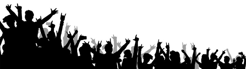 Isolated music concert crowd with hands in the air - black silhouette of dancing people